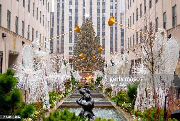 View of the Rockefeller Center Christmas tree on December 09, 2020 in New York City. Many holiday events have been canceled or adjusted with...
