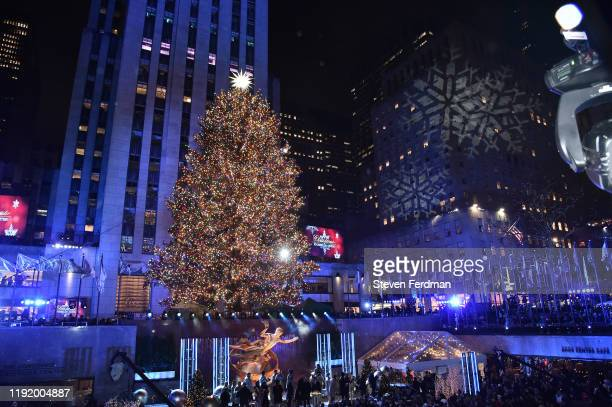 View of the Rockefeller Center Christmas Tree, with Swarovski Star atop, during the 87th Annual Rockefeller Center Christmas Tree Lighting Ceremony...