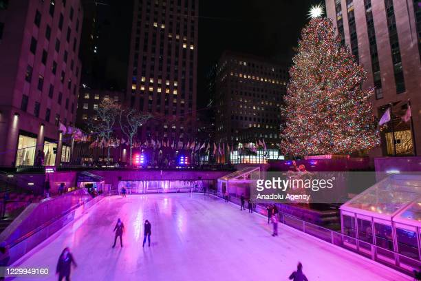 View of the Rockefeller Christmas Tree at the Rockefeller Center in New York City, United States on December 04, 2020.