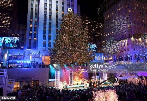 A view of the Rockefeller Plaza during the 85th Rockefeller Center Christmas Tree Lighting Ceremony at Rockefeller Center on November 29 2017 in New...