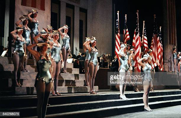 A view of the Rockettes on stage at the Radio City Music Hall in New York NY
