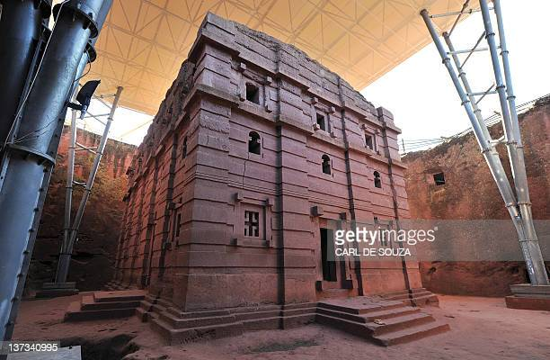 A view of the rockhewn UNESCO protected Church of Saint Emmanuel where Ethiopian Orthodox Christians gather during for the annual festival of Timkat...