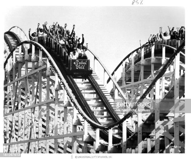 A view of the Rollercoaster Rebel Yell on the set of the Universal Pictures movie 'Rollercoaster' in 1977