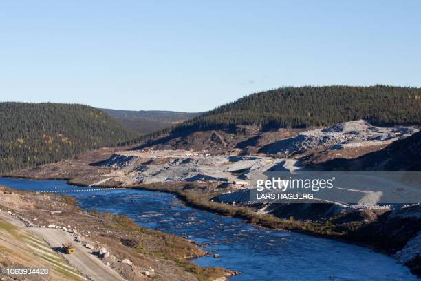 View of the Romaine River before it enters Hydro-Quebec's Romaine 4 hydroelectric dam in the Côte-Nord Administrative Region of Quebec, Canada, on...