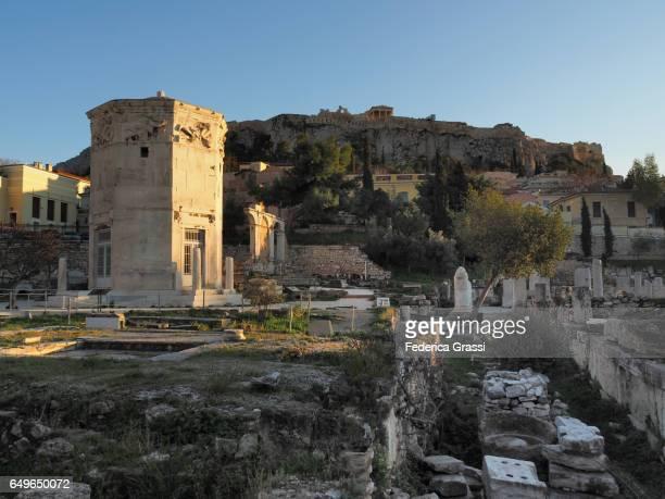 view of the roman agora in athens, greece - archäologie stock-fotos und bilder