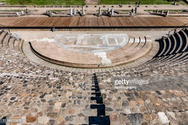 view of the roman amphitheater in lyon - auvergne rhône alpes stock pictures, royalty-free photos & images