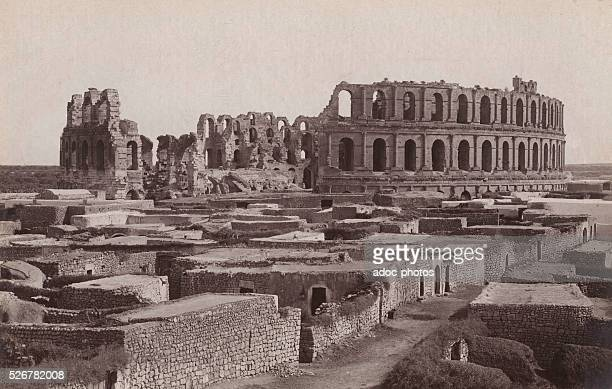 View of the Roman amphitheater of El Jem Ca 1900