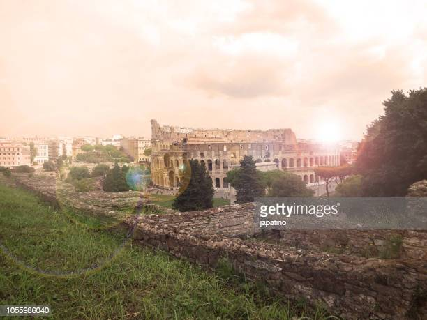 View of the Roman Colosseum from the Palatine Hill,