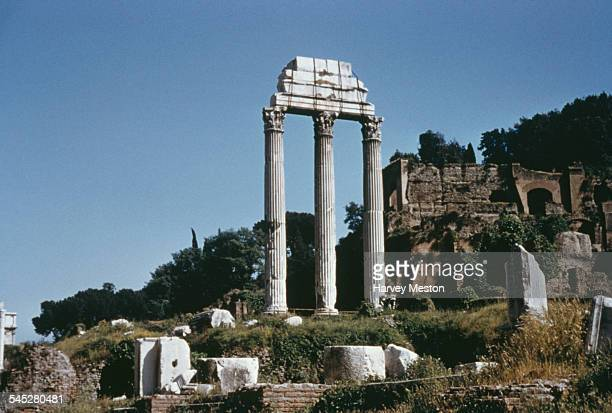 A view of the Roman Forum and ruins in Rome Italy circa 1960