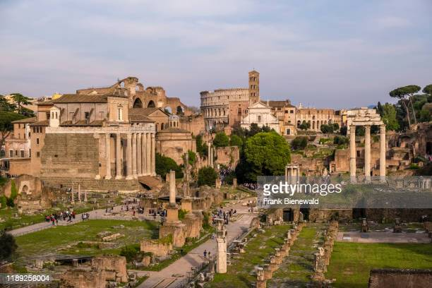 View of the Roman Forum, Forum Romanum, the ruins of several important ancient government buildings.