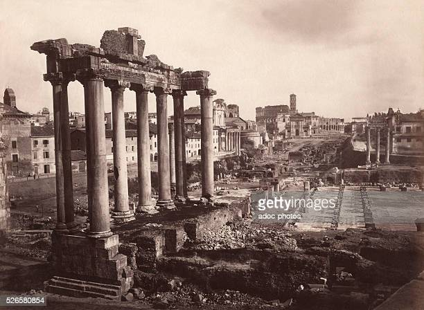 View of the Roman Forum from the Tabularium in Rome Ca 1880