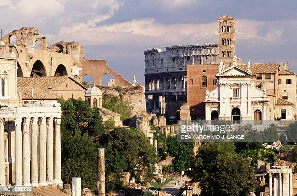 View of the Roman Forum with the Colosseum in the background Historic Centre of Rome Lazio Italy Roman civilisation