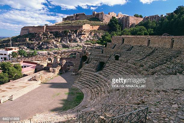View of the Roman Theatre 50 AD and the Castle of Sagunto Valencia Spain