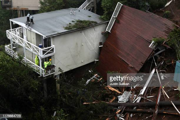 A view of the roof of a home that was swept down a hill by a mudslide during a rain storm on February 14 2019 in Sausalito California 50 homes in the...