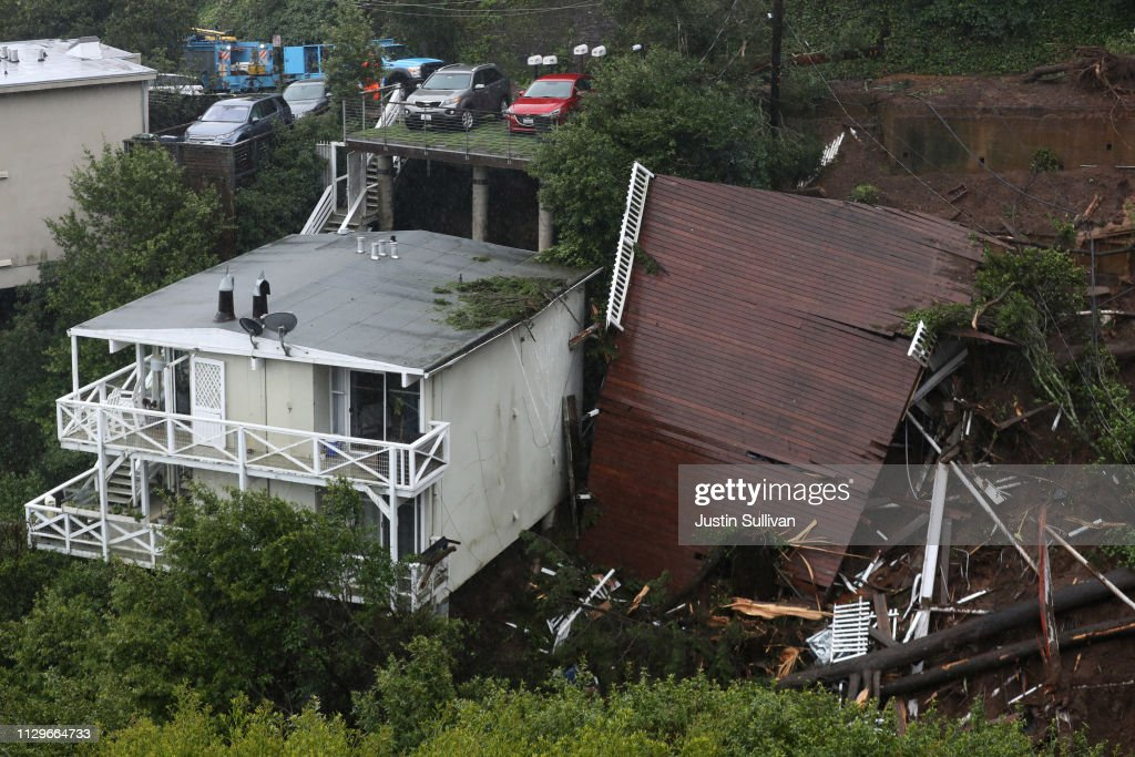 CA: Heavy Rains Causes Mudslide In Residential Neighborhood In Sausalito, California