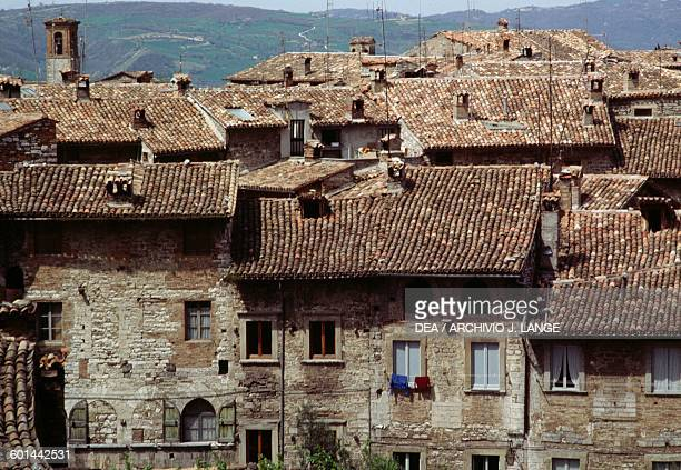 View of the roofs of Gubbio, Umbria, Italy.