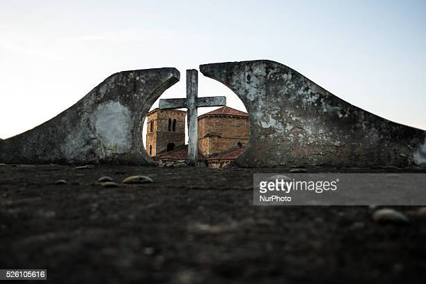 View of the roofs of the church of Santa Cruz in Castañeda (Cantabria, on January 24, 2016. The Collegiate Church of Santa Cruz is located in...