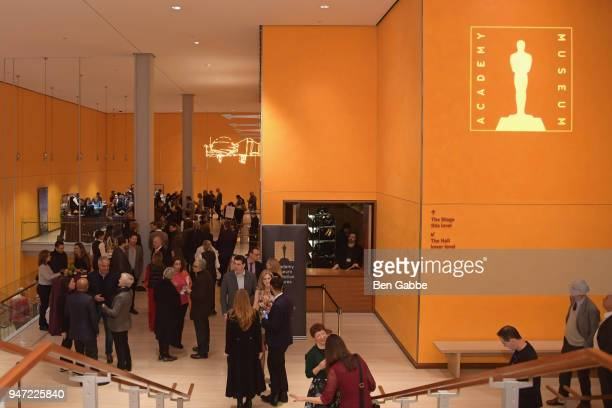 A view of the room during the cocktail reception at the Academy Museum Conversation at The Times Center featuring Whoopi Goldberg Kerry Brougher and...