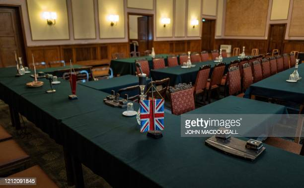 View of the room in which the unconditional surrender of Nazi Germany was signed on May 8 in the Berlin district of Karlshorst on May 7 2020 The...
