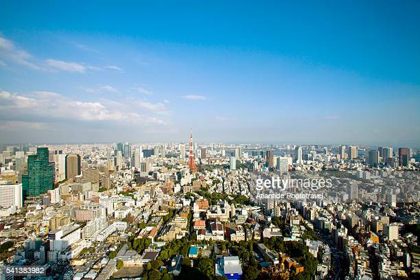 view of the roppongi district in tokyo from mori tower - roppongi hills stock pictures, royalty-free photos & images