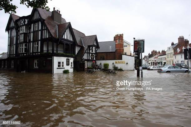 View of the Rose and Crown pub in Beverley North East Yorkshire after heavy rainfall caused flooding