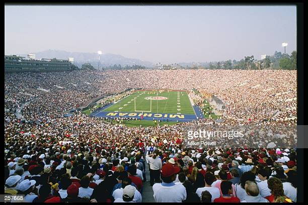 View of the Rose Bowl between the Southern California Trojans and the Michigan Wolverines in Pasadena California Southern California won the game 1710