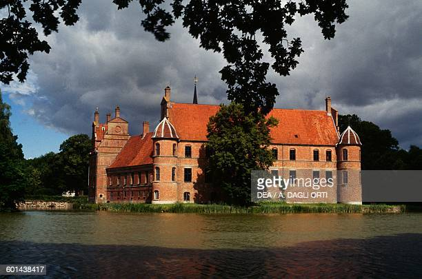 View of the Rosenholm Castle from the lake Central Jutland Denmark 16th17th century