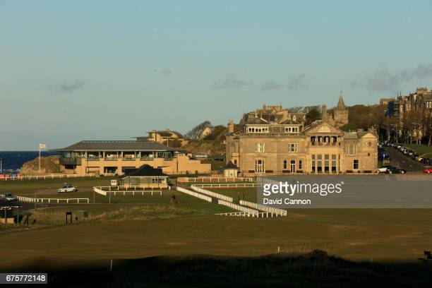 A view of the Royal and Ancient Golf Club of St Andrews Clubhouse and the St Andrews Golf Museuem with the first fairway of the Old Course at St...