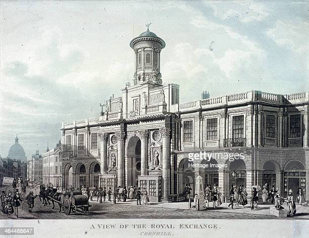 A View of the Royal Exchange's south front and west end of Cornhill London 1836 Also with figures including a boy collecting water at a pump and a...