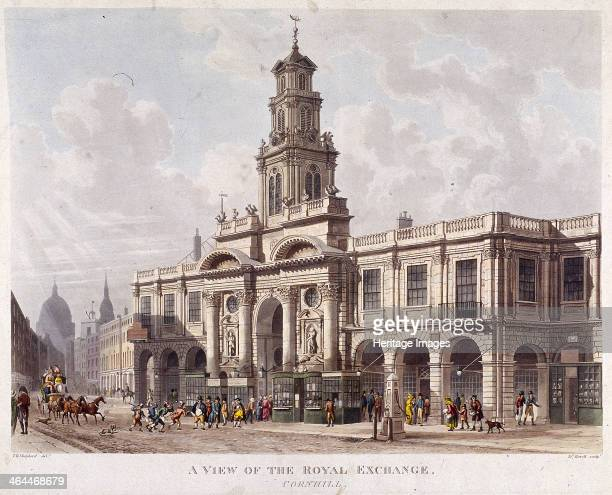 A view of the Royal Exchange's south front London including a newspaper office and Bolton's medicines shop Also with figures coach and horses and a...