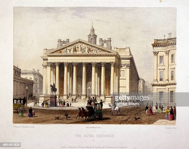 View of the Royal Exchange's west front London 1854 Figures and horse drawn vehicles can be seen in the street