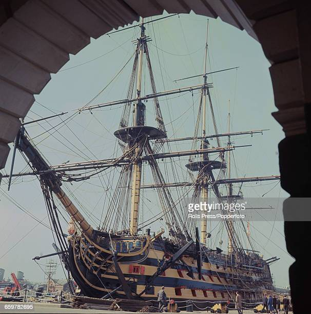1970 view of the Royal Navy ship HMS Victory used by Lord Nelson as his flagship at the Battle of Trafalgar now located in a dry dock at Portsmouth...