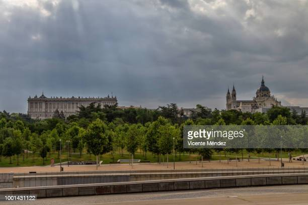 View of the Royal Palace and the Cathedral of La Almudena