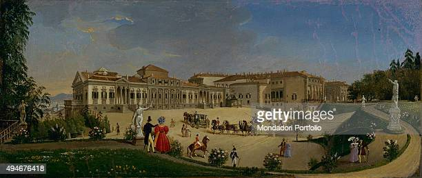 View of the Royal Palace of Florence Palazzina della Meridiana by Giovanni Migliara 19th Century oil on leather 31 x 13 cm Italy Lazio Rome National...