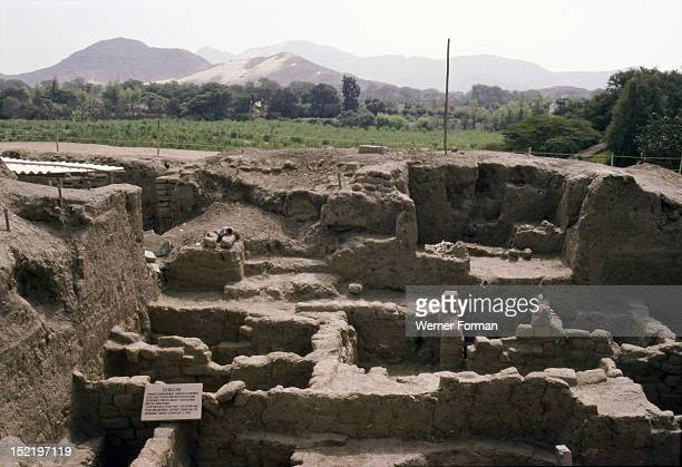 View of the Royal 'tomb 1 ' at the Mochica site of Sipan, Reconstruction of the tomb in the original location. Peru. Mochica culture. 0-700 AD. Sipan.