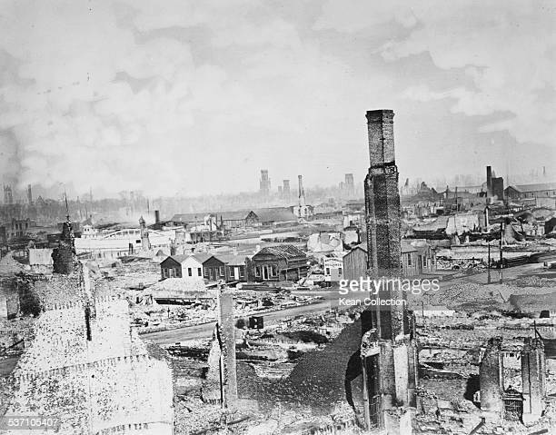 View of the ruins in the aftermath of the Great Chicago Fire, Illinois, October 1871.