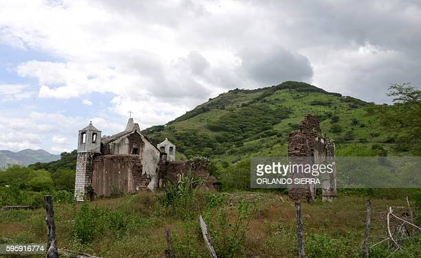 View of the ruins of a church destroyed during the Hurricane Mitch in 1998 in the rural community Morolica Choluteca department 64kms south of...