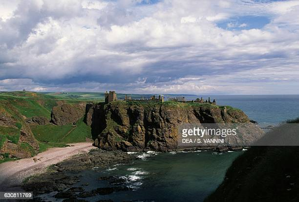 View of the ruins of Dunnottar Castle overlooking the sea Stonehaven Scotland United Kingdom 15th17th century