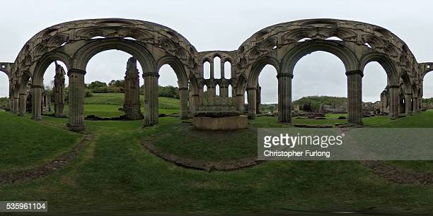 A 360 view of the ruins of Rievaulx Abbey in North Yorkshire on May 26 2016 in Thirsk England The monks were visiting the Abbey to view the new...