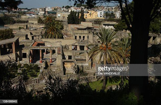 A view of the ruins of the ancient city of Herculaneum today Visitors to Herculaneum destroyed along with Pompeii in the 79 AD eruption of Mount...