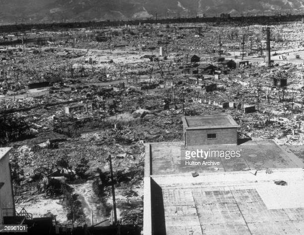 A view of the ruins of the city of Hiroshima following the first dropping of the atomic bomb by the United States on August 6 1945
