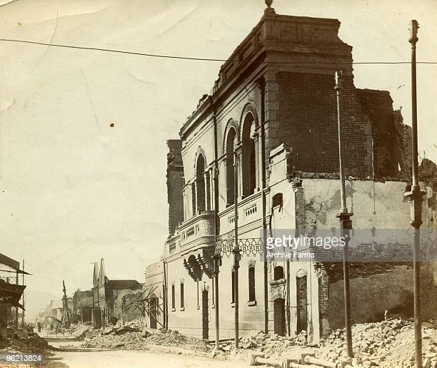 View of the ruins of The Colonial Bank Kingston Jamaica following the devastating earthquake of January 14 1907