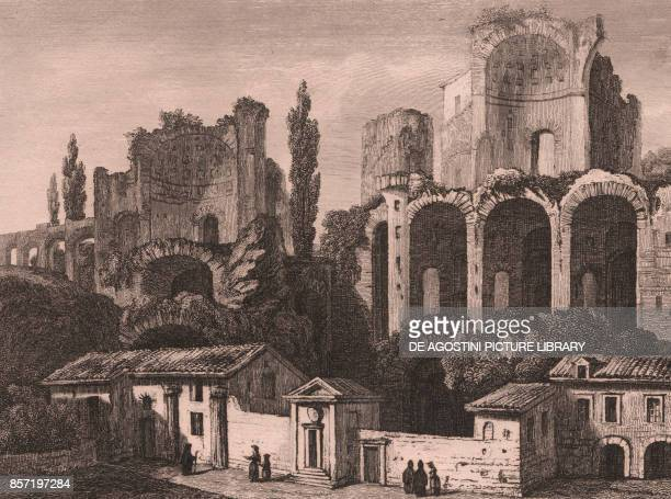 View of the ruins of the Imperial Palace on Palatine Hill Rome Lazio Italy steel engraving ca 13x10 cm from Italie pittoresque Tableau Historique et...