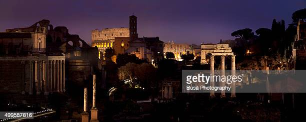 View of the ruins of the Roman Forum in Rome at twilight