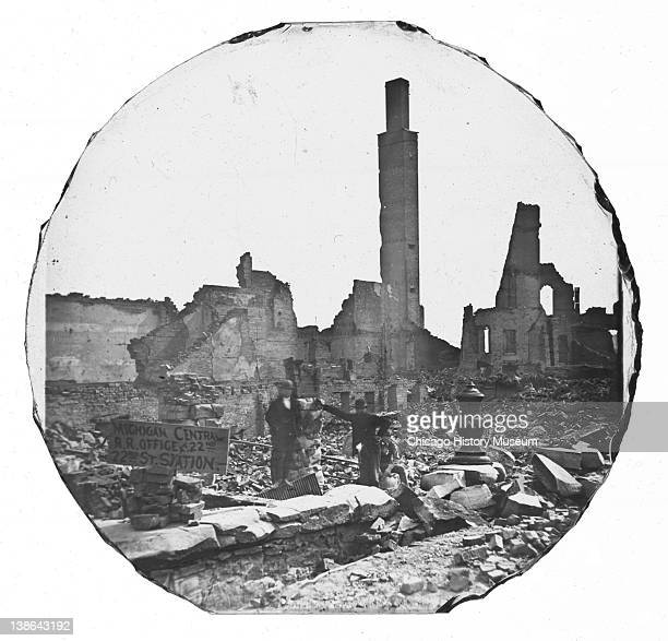 View of the ruins of the Tremont House after the Great Chicago Fire, Chicago, Illinois, 1871.