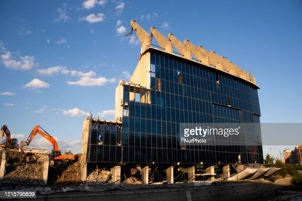 View of the ruins of the Vicente Calderon Stadium, which had a capacity of more than 50,000 and was located on the banks of the Manzanares in the...
