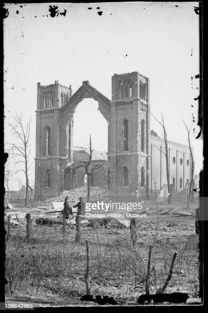 View of the ruins of Trinity Church after the Great Chicago Fire Chicago Illinois 1871