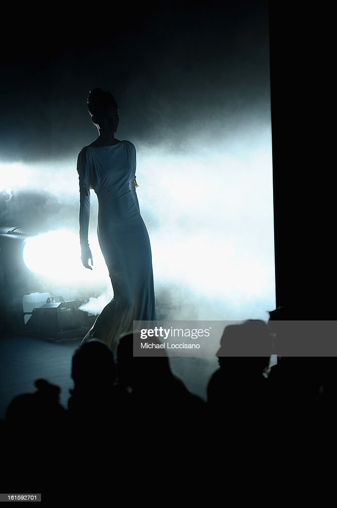 A view of the runway at the Badgley Mischka Fall 2013 fashion show during Mercedes-Benz Fashion Week at The Theatre at Lincoln Center on February 12, 2013 in New York City.