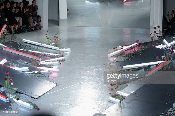 A view of the runway at the Rodarte Fall 2016 fashion show during New York Fashion Week on February 16 2016 in New York City