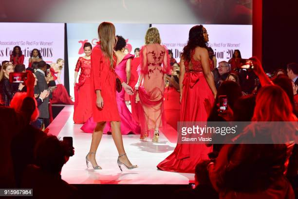 A view of the runway during the American Heart Association's Go Red For Women Red Dress Collection 2018 presented by Macy's class photo at...